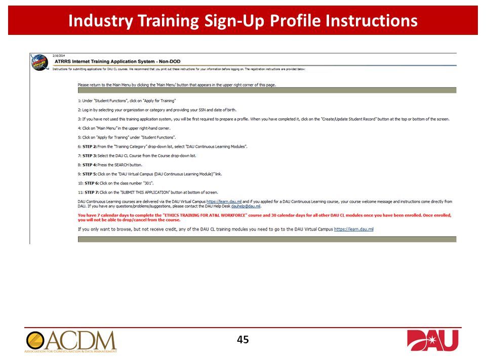 Industry Training Sign-Up Profile Instructions 45