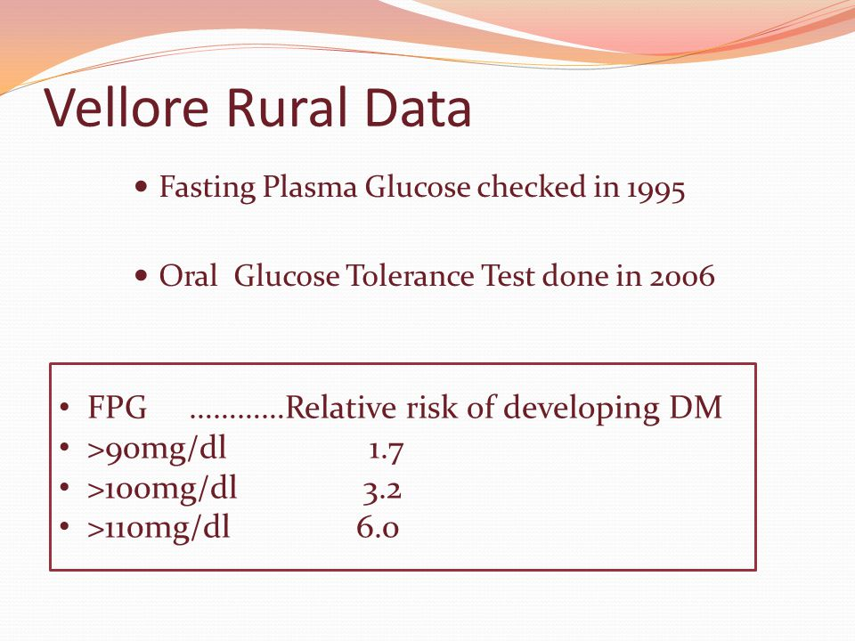 FPG …………Relative risk of developing DM >90mg/dl 1.7 >100mg/dl 3.2 >110mg/dl 6.0 Vellore Rural Data Fasting Plasma Glucose checked in 1995 Oral Glucose