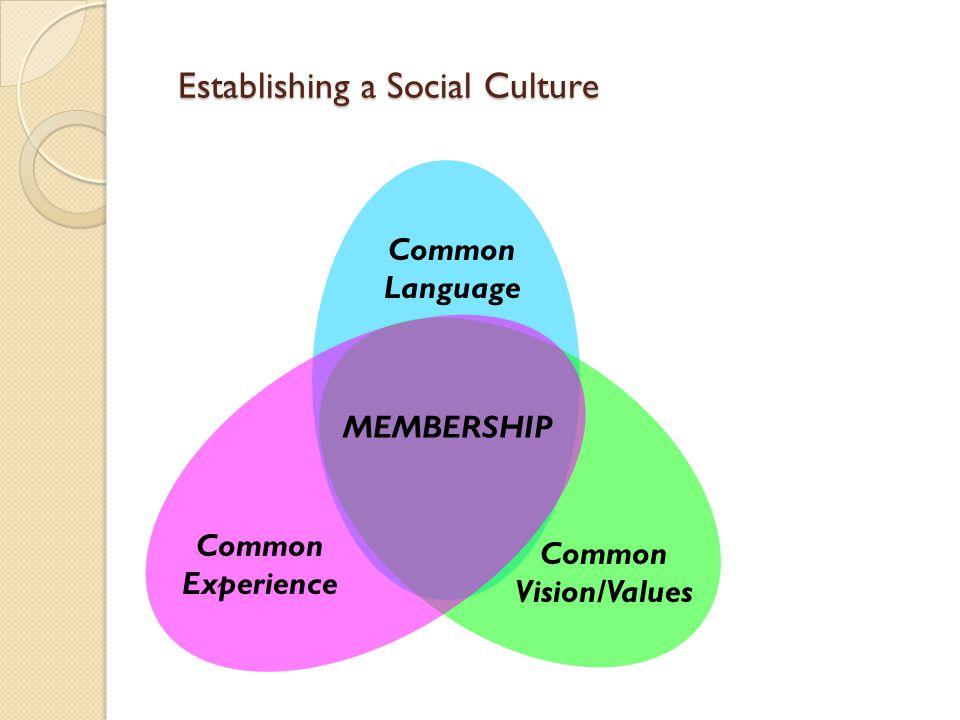 Establishing a Social Culture Common Vision/Values Common Language Common Experience MEMBERSHIP