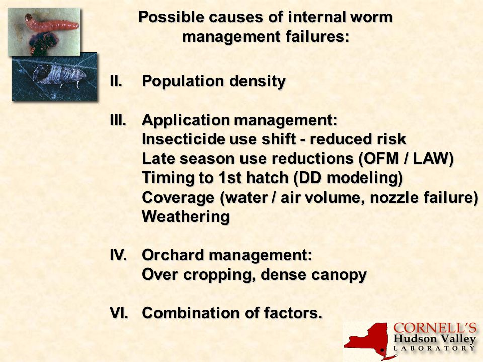Possible causes of internal worm management failures: II.Population density III.Application management: Insecticide use shift - reduced risk Late season use reductions (OFM / LAW) Timing to 1st hatch (DD modeling) Coverage (water / air volume, nozzle failure) Weathering IV.Orchard management: Over cropping, dense canopy VI.Combination of factors.