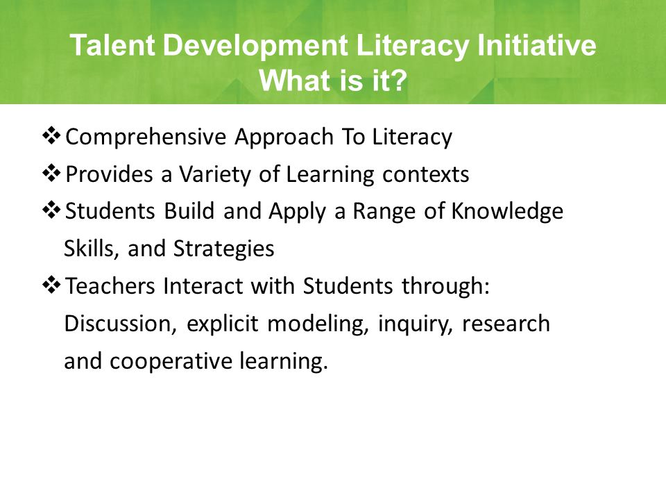  Comprehensive Approach To Literacy  Provides a Variety of Learning contexts  Students Build and Apply a Range of Knowledge Skills, and Strategies  Teachers Interact with Students through: Discussion, explicit modeling, inquiry, research and cooperative learning.