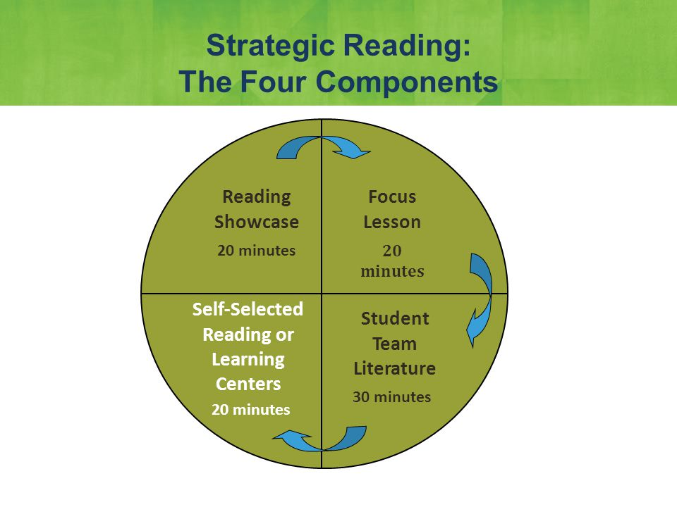 Focus Lesson 20 minutes Strategic Reading: The Four Components Focus Lesson Student Team Literature Self-Selected Reading or Learning Centers Reading