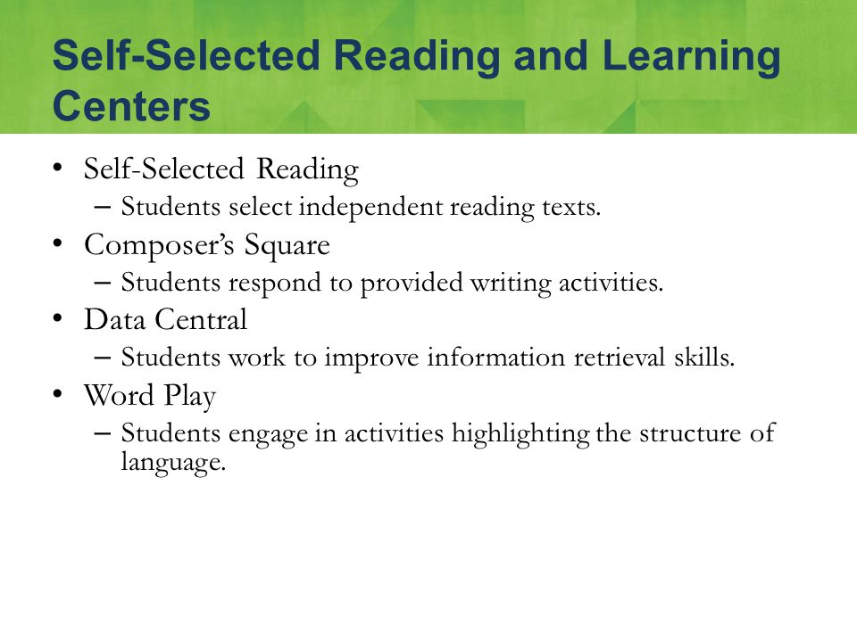 Self-Selected Reading – Students select independent reading texts. Composer's Square – Students respond to provided writing activities. Data Central –