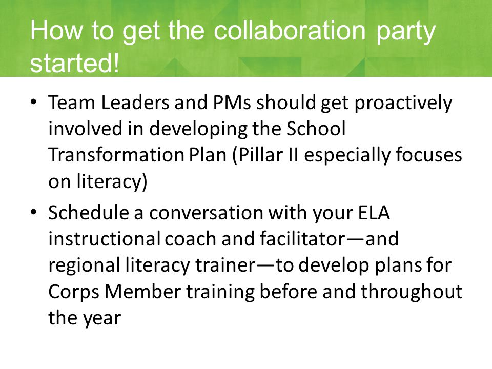 Team Leaders and PMs should get proactively involved in developing the School Transformation Plan (Pillar II especially focuses on literacy) Schedule