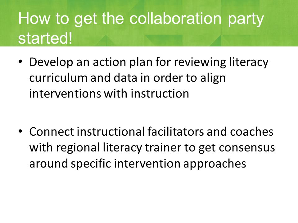 Develop an action plan for reviewing literacy curriculum and data in order to align interventions with instruction Connect instructional facilitators