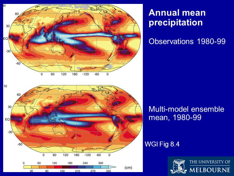 Annual mean precipitation Observations 1980-99 Multi-model ensemble mean, 1980-99 WGI Fig 8.4