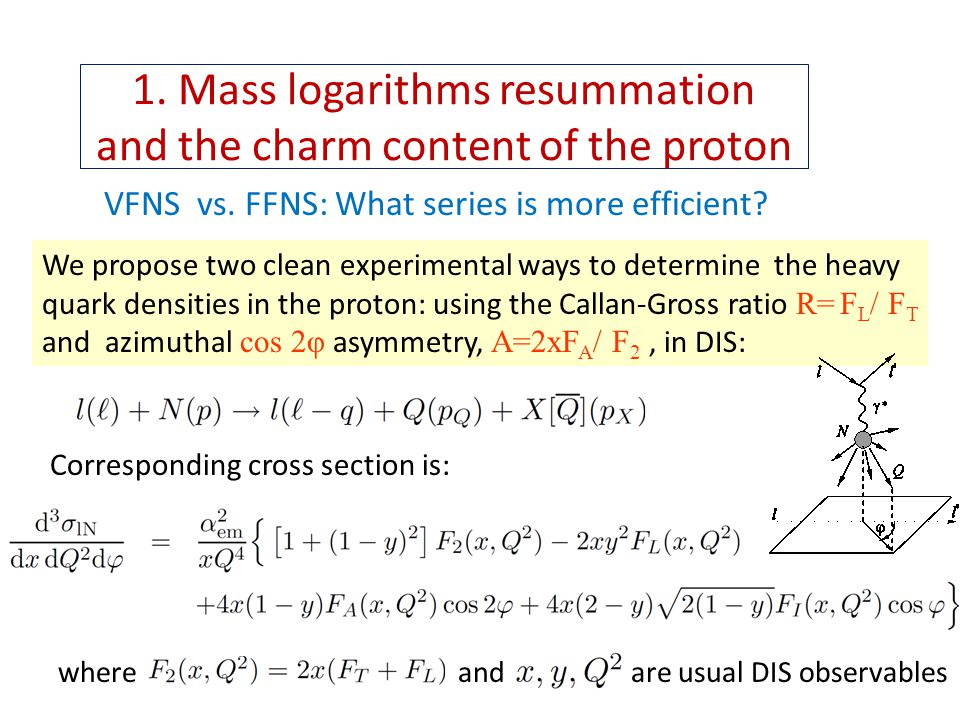 1. Mass logarithms resummation and the charm content of the proton VFNS vs.