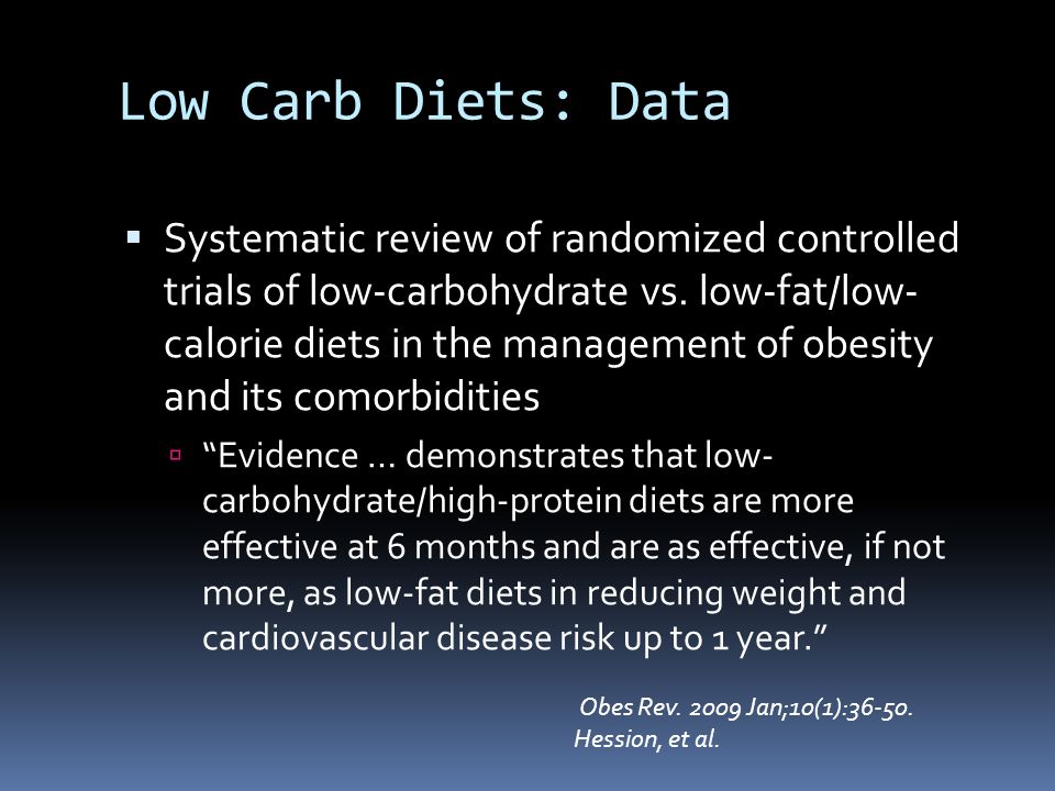 Low Carb Diets: Data  Systematic review of randomized controlled trials of low-carbohydrate vs.