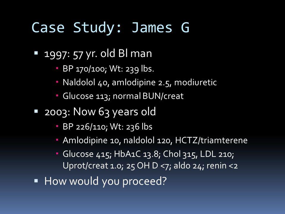 Case Study: James G  1997: 57 yr. old Bl man  BP 170/100; Wt: 239 lbs.