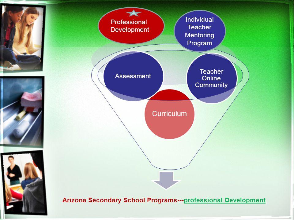 Arizona Secondary School Programs---professional Development Curriculum Assessment Teacher Online Community Individual Teacher Mentoring Program Professional Development