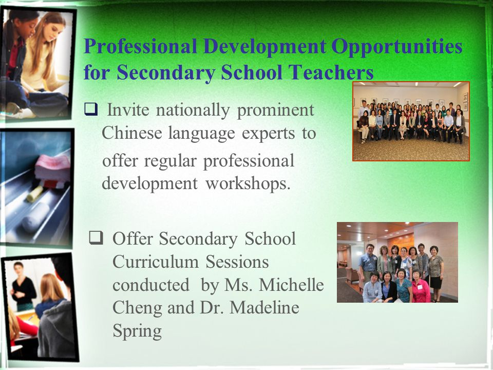 Professional Development Opportunities for Secondary School Teachers  Invite nationally prominent Chinese language experts to offer regular professio