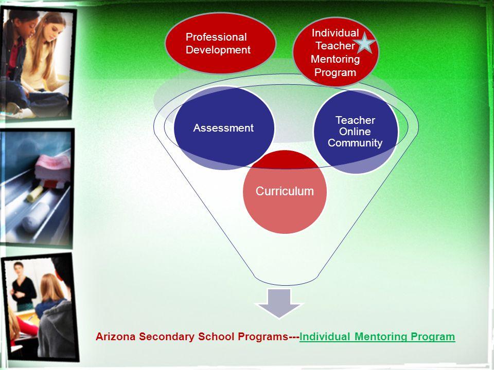 Arizona Secondary School Programs---Individual Mentoring Program Curriculum Assessment Teacher Online Community Individual Teacher Mentoring Program Professional Development
