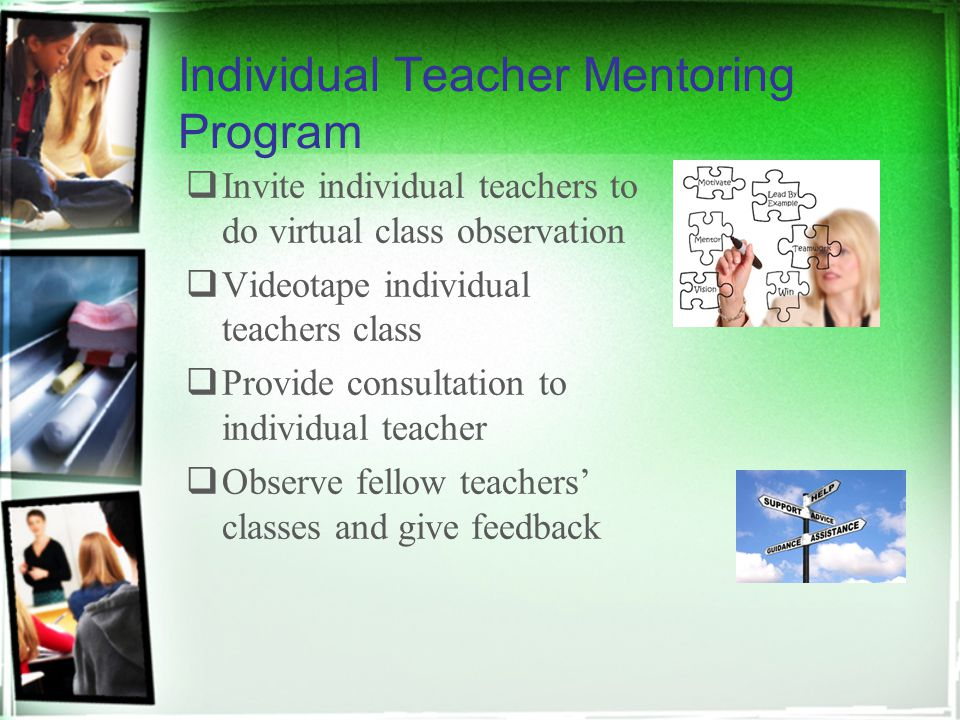 Individual Teacher Mentoring Program  Invite individual teachers to do virtual class observation  Videotape individual teachers class  Provide consultation to individual teacher  Observe fellow teachers' classes and give feedback