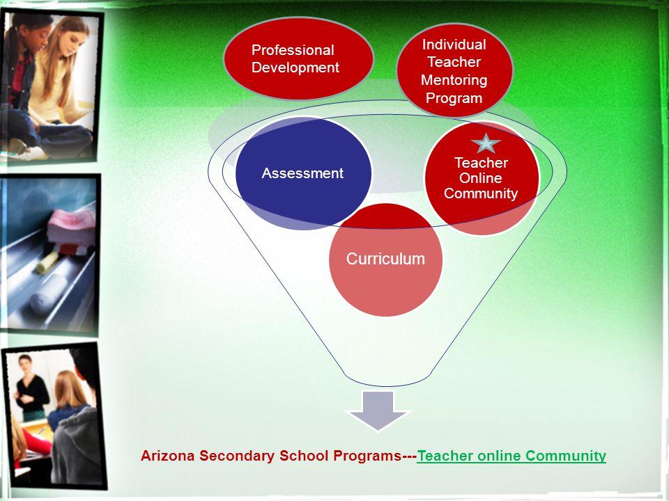 Arizona Secondary School Programs---Teacher online Community Curriculum Assessment Teacher Online Community Individual Teacher Mentoring Program Professional Development