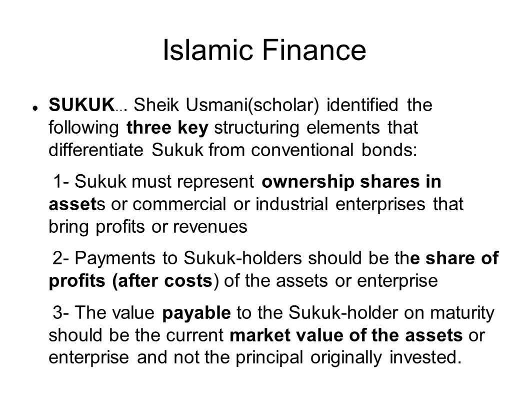 Islamic Finance SUKUK...