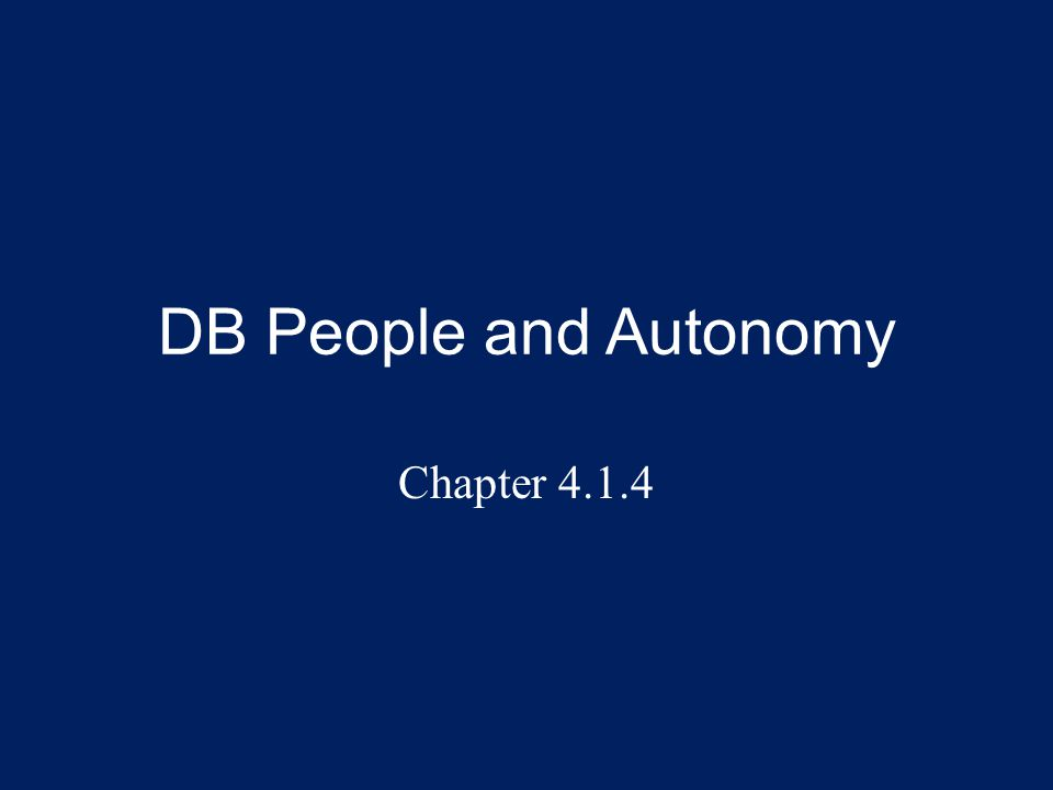Overview This presentation explores the elements of autonomy (for DB people) and how it relates to SSPs: – Autonomy vs.