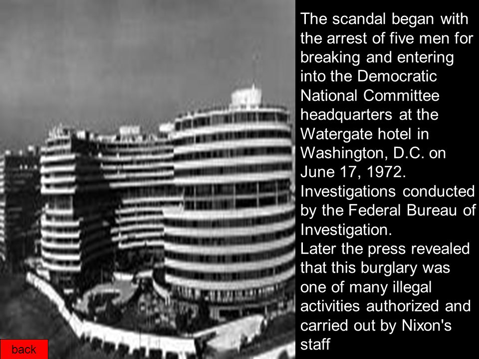 back The Watergate scandal was a political scandal during the presidency of Richard Nixon that resulted in the conviction of several of Nixon s closest advisors, and ultimately his resignation on August 9,1974.