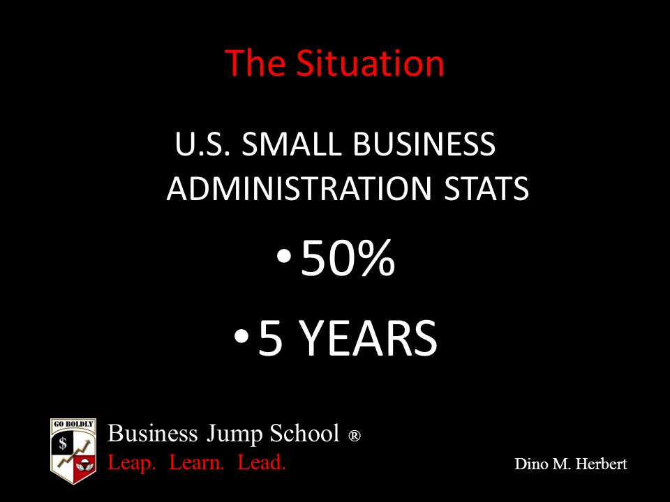 Business Jump School ® Leap. Learn. Lead. Dino M. Herbert The Situation U.S. SMALL BUSINESS ADMINISTRATION STATS 50% 5 YEARS