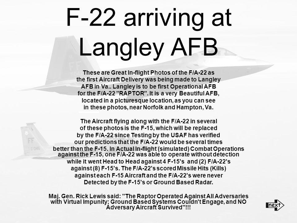 F-22 arriving at Langley AFB Speakers on EddieVanHalen~TopGunTheme