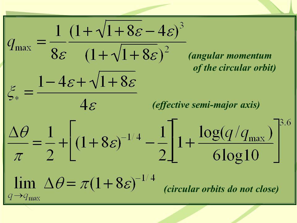 (effective semi-major axis) (angular momentum of the circular orbit) (circular orbits do not close)
