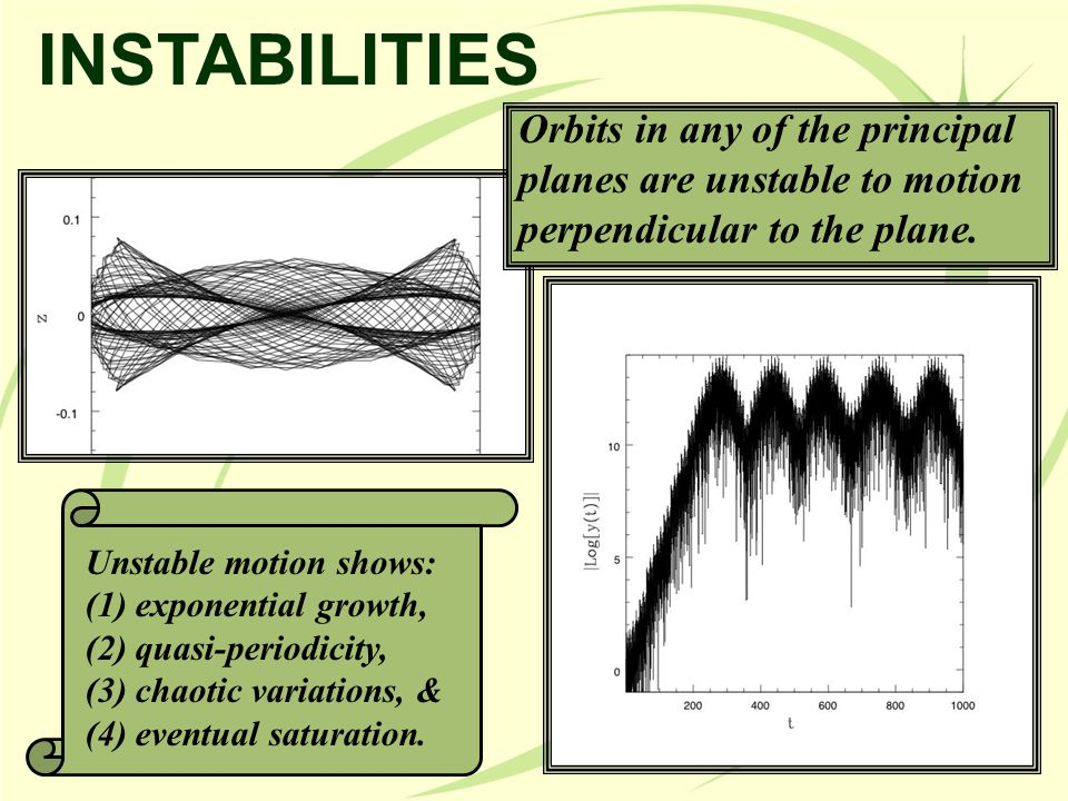 INSTABILITIES Orbits in any of the principal planes are unstable to motion perpendicular to the plane.