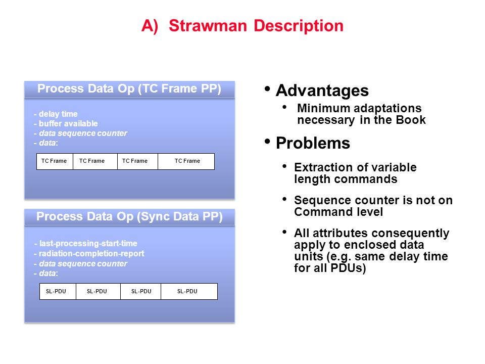 A) Strawman Description Advantages Minimum adaptations necessary in the Book Problems Extraction of variable length commands Sequence counter is not o