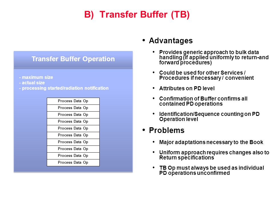 B) Transfer Buffer (TB) Advantages Provides generic approach to bulk data handling (if applied uniformly to return-and forward procedures) Could be us
