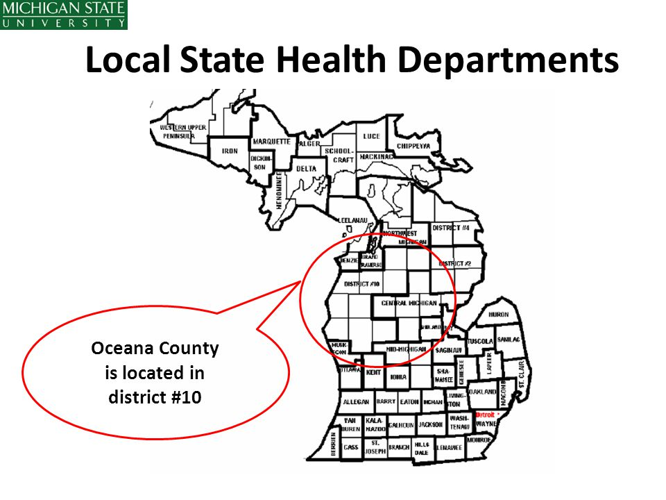 Local State Health Departments Oceana County is located in district #10