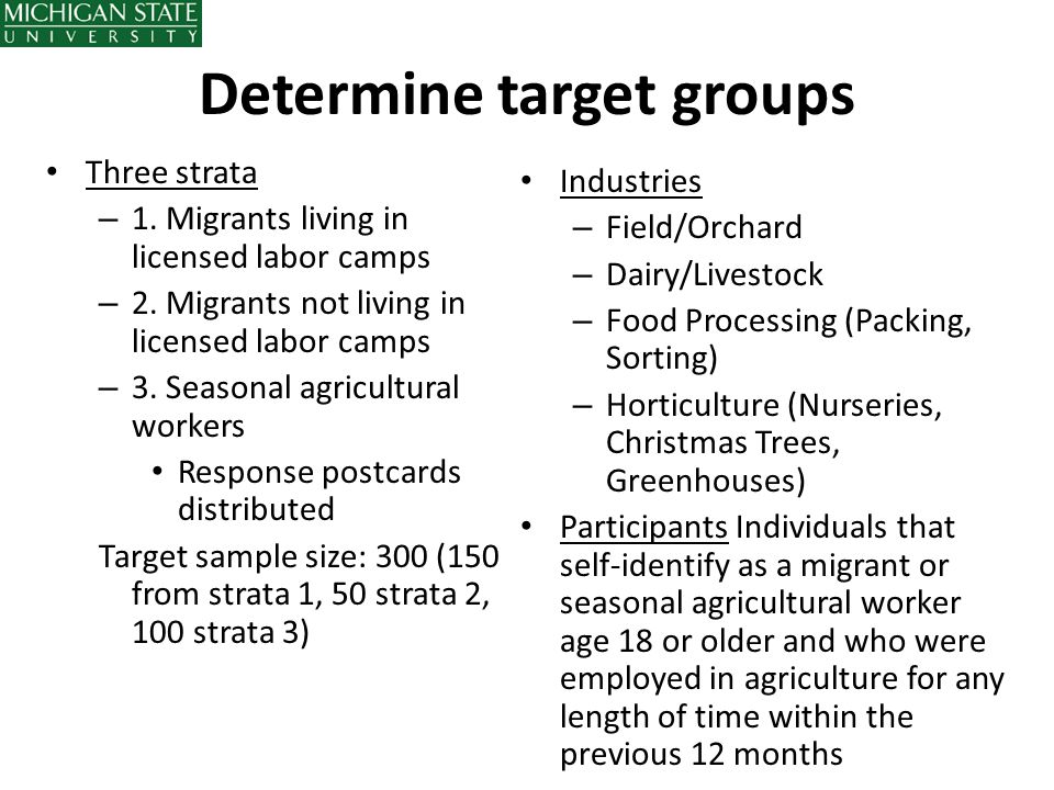 Determine target groups Three strata – 1. Migrants living in licensed labor camps – 2. Migrants not living in licensed labor camps – 3. Seasonal agric