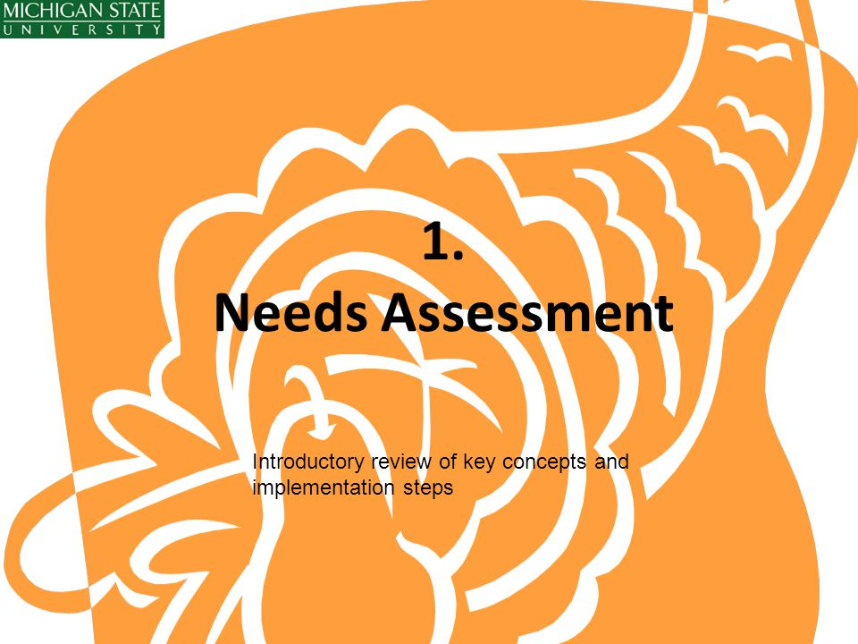 1. Needs Assessment Introductory review of key concepts and implementation steps