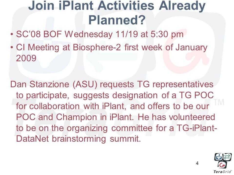 4 Join iPlant Activities Already Planned.