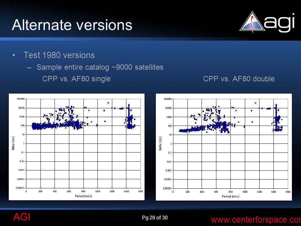 Pg 28 of 30 AGI www.centerforspace.com Alternate versions Test 1980 versions –Sample entire catalog ~9000 satellites CPP vs.