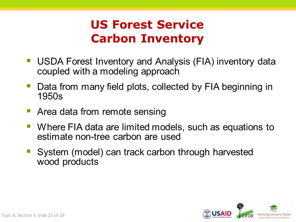 US Forest Service Carbon Inventory  USDA Forest Inventory and Analysis (FIA) inventory data coupled with a modeling approach  Data from many field plots, collected by FIA beginning in 1950s  Area data from remote sensing  Where FIA data are limited models, such as equations to estimate non-tree carbon are used  System (model) can track carbon through harvested wood products Topic 4, Section F, slide 23 of 29