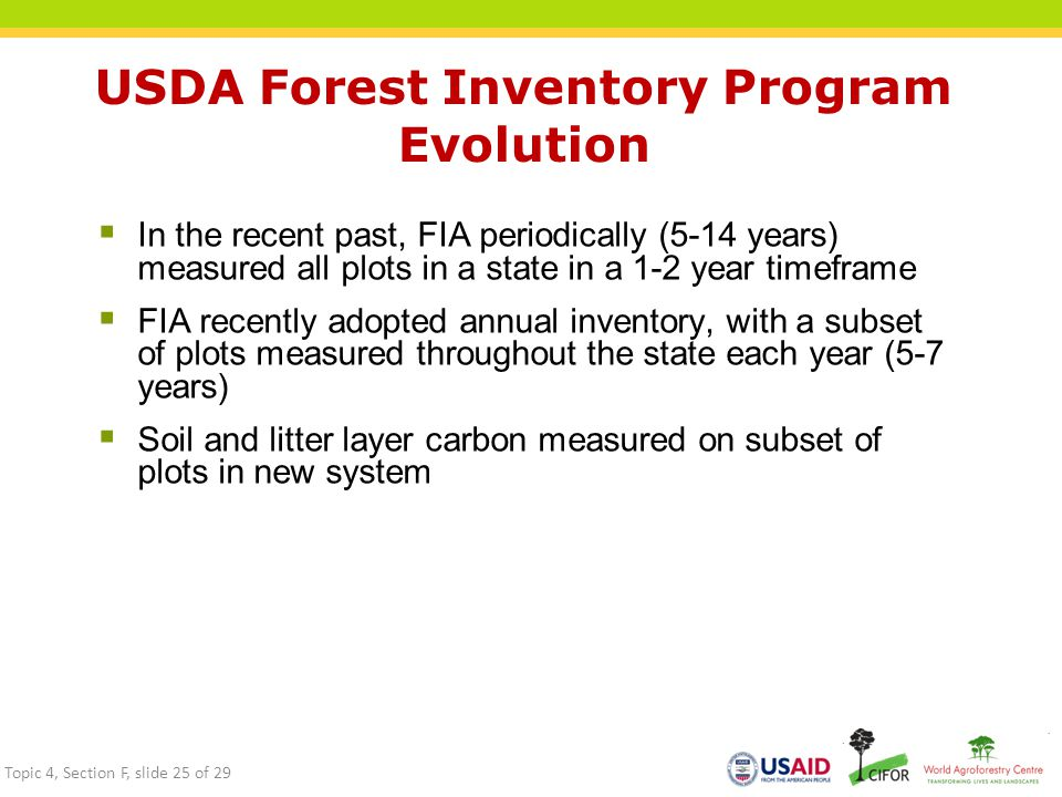 USDA Forest Inventory Program Evolution  In the recent past, FIA periodically (5-14 years) measured all plots in a state in a 1-2 year timeframe  FIA recently adopted annual inventory, with a subset of plots measured throughout the state each year (5-7 years)  Soil and litter layer carbon measured on subset of plots in new system Topic 4, Section F, slide 25 of 29