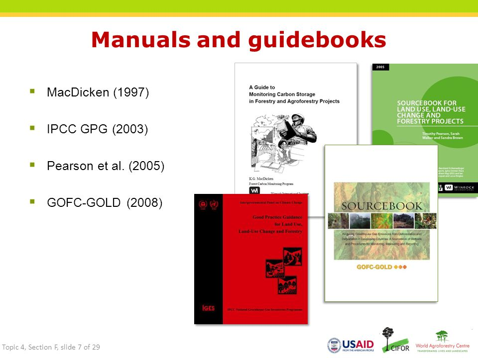 Manuals and guidebooks  MacDicken (1997)  IPCC GPG (2003)  Pearson et al.