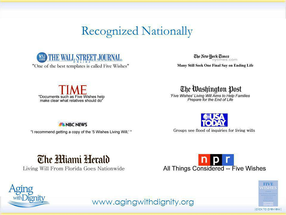 Recognized Nationally www.agingwithdignity.org (click to preview)