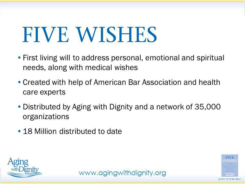 First living will to address personal, emotional and spiritual needs, along with medical wishes Created with help of American Bar Association and heal