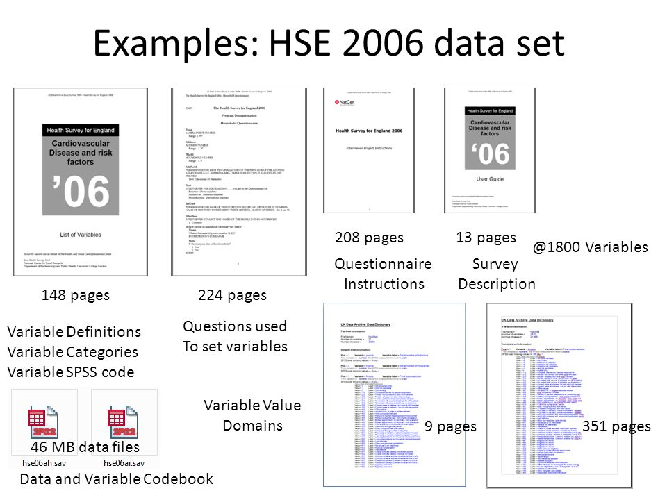 Examples: HSE 2006 data set 13 pages208 pages Variable Definitions Variable Categories Variable SPSS code Questionnaire Instructions 224 pages Questions used To set variables 148 pages Survey Description 9 pages Variable Value Domains 351 pages 46 MB data files Data and Variable Codebook @1800 Variables