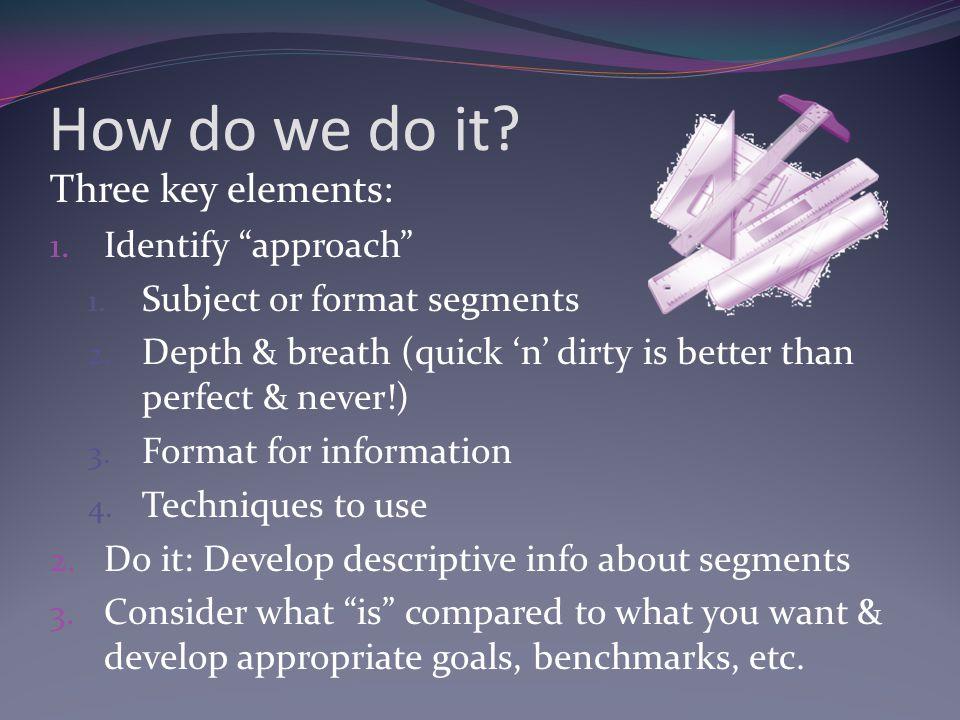 How do we do it. Three key elements: 1. Identify approach 1.