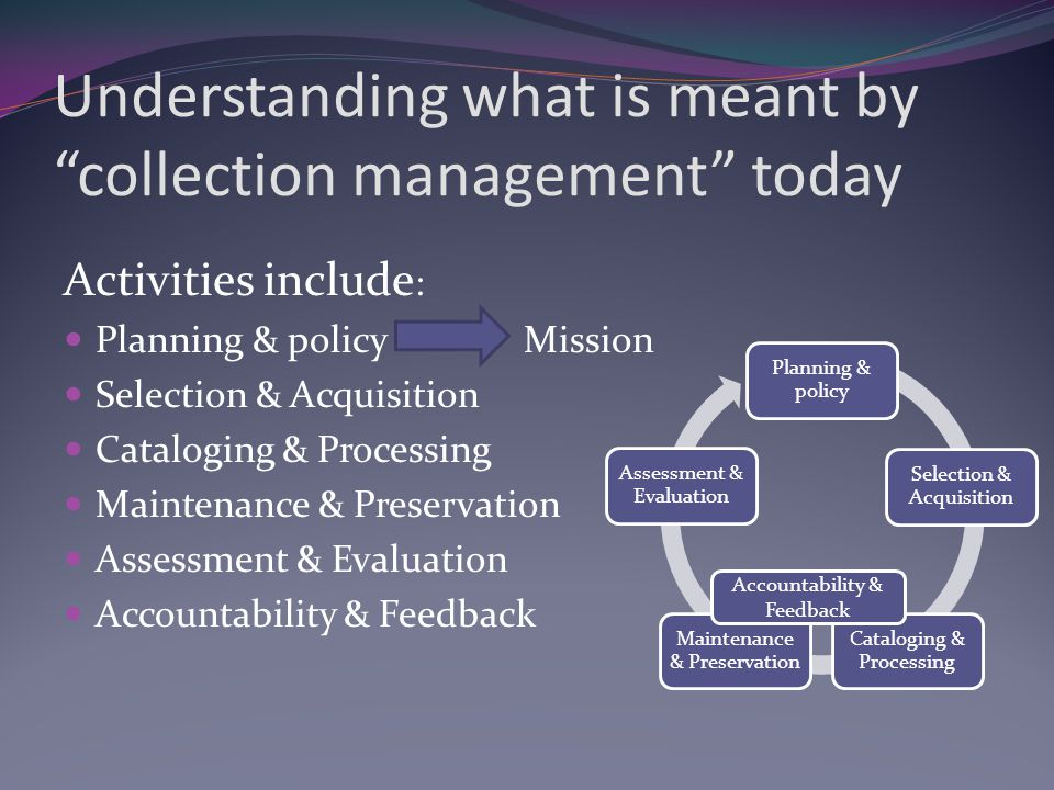 Understanding what is meant by collection management today Activities include : Planning & policy Mission Selection & Acquisition Cataloging & Processing Maintenance & Preservation Assessment & Evaluation Accountability & Feedback Planning & policy Selection & Acquisition Cataloging & Processing Maintenance & Preservation Assessment & Evaluation Accountability & Feedback