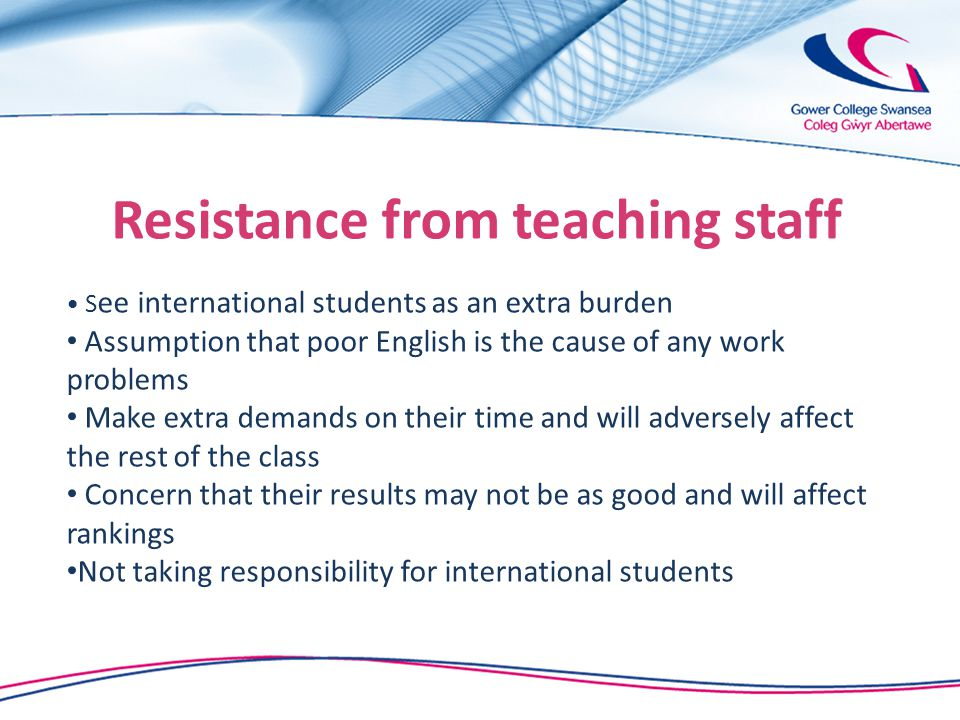 Resistance from teaching staff S ee international students as an extra burden Assumption that poor English is the cause of any work problems Make extra demands on their time and will adversely affect the rest of the class Concern that their results may not be as good and will affect rankings Not taking responsibility for international students