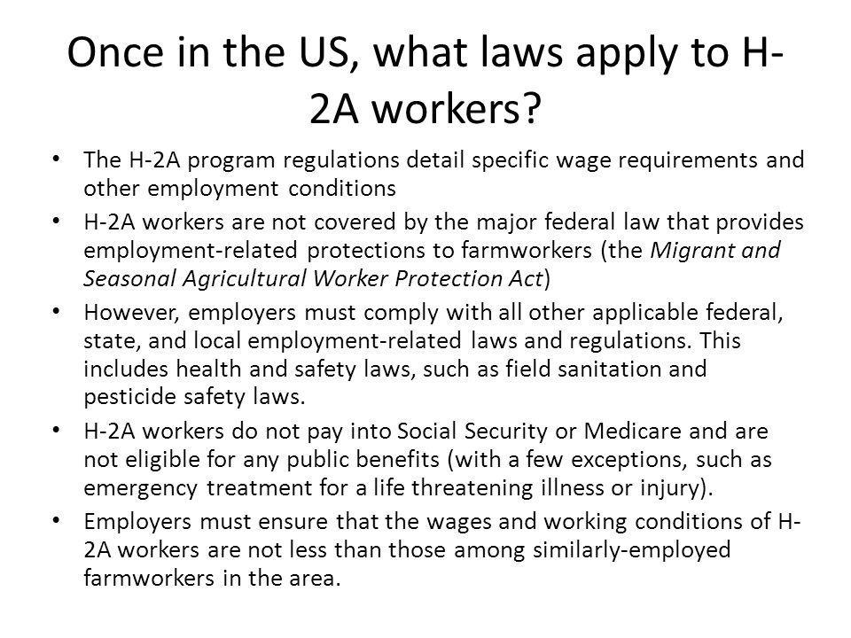 Once in the US, what laws apply to H- 2A workers.