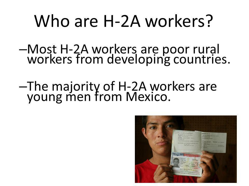 Who are H-2A workers. – Most H-2A workers are poor rural workers from developing countries.