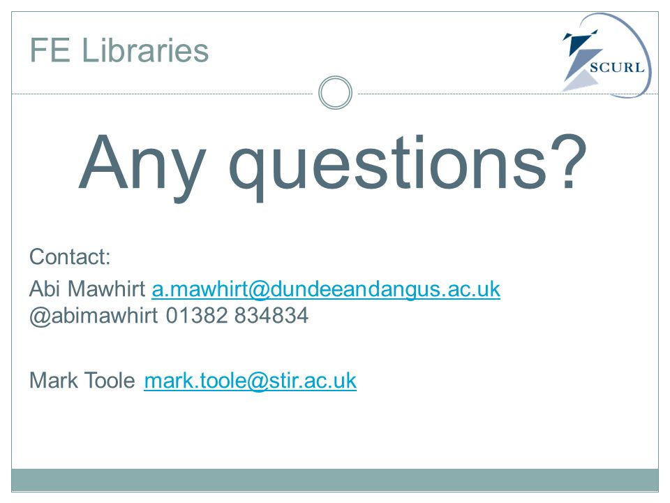 FE Libraries Any questions.