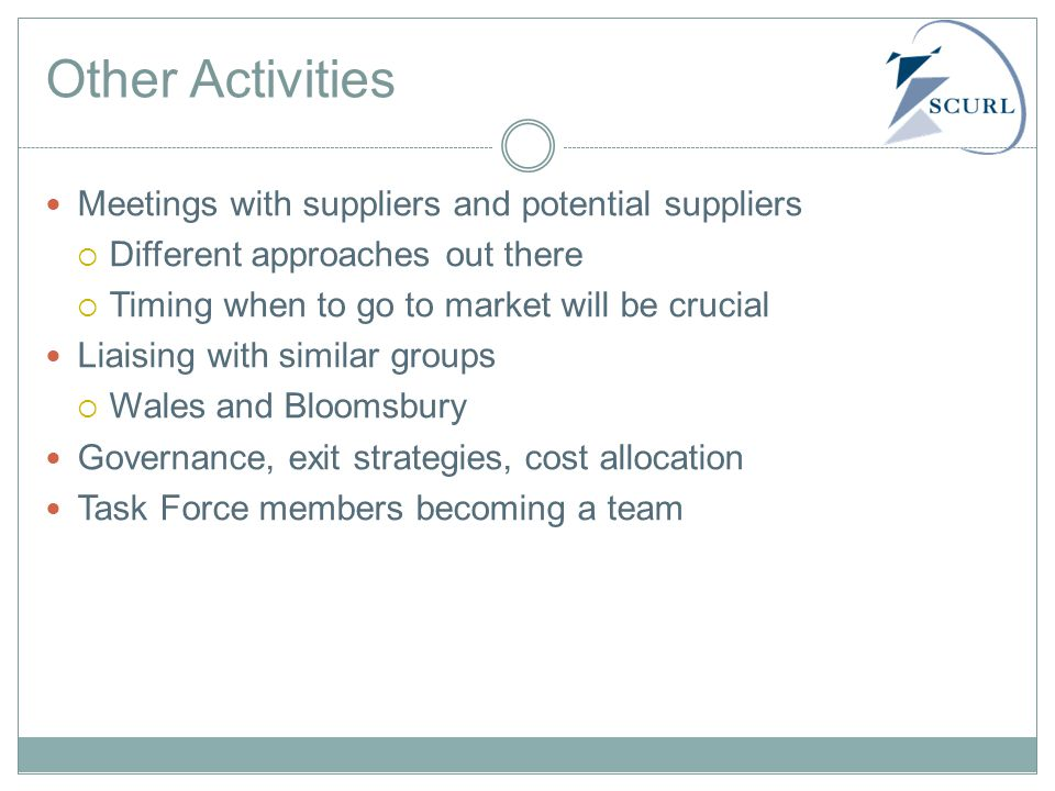 Other Activities Meetings with suppliers and potential suppliers  Different approaches out there  Timing when to go to market will be crucial Liaising with similar groups  Wales and Bloomsbury Governance, exit strategies, cost allocation Task Force members becoming a team