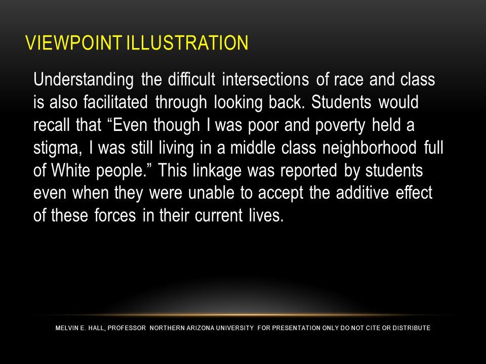 VIEWPOINT ILLUSTRATION Understanding the difficult intersections of race and class is also facilitated through looking back.