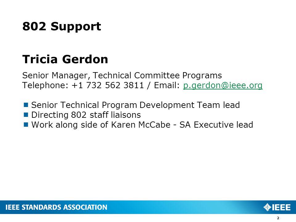 802 Process Support Kathryn Bennett Program Manager, Technical Program Development Telephone: +1 732 465 5867 Email: K.Bennett@ieee.orgK.Bennett@ieee.org  802.1  802.11  802.16  802.17 (Hibernated)  802.18  802.19 3