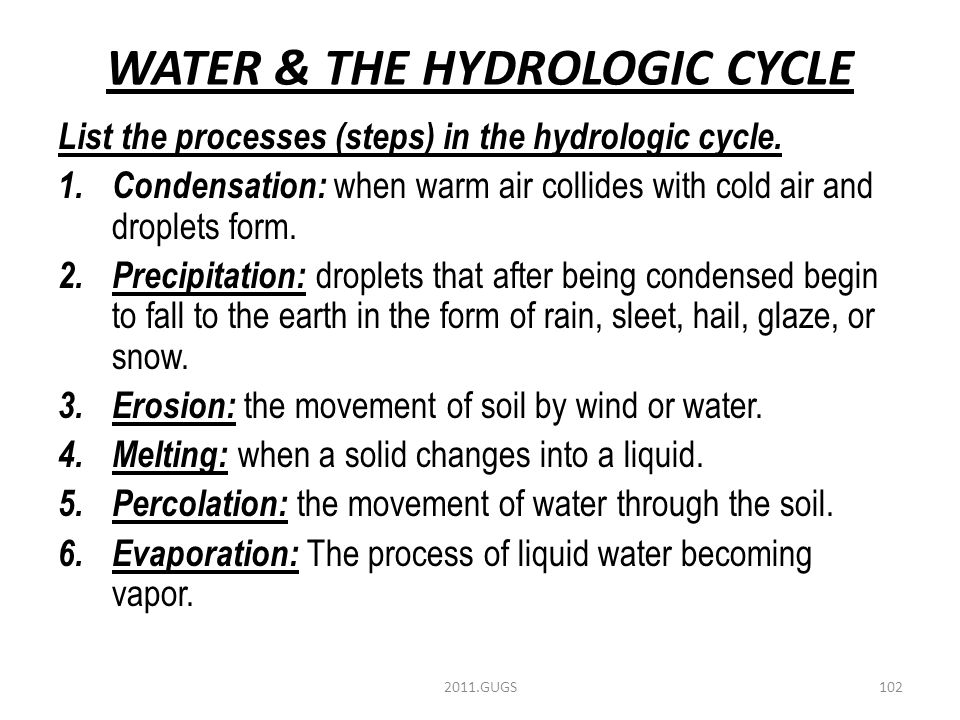 WATER & THE HYDROLOGIC CYCLE List the processes (steps) in the hydrologic cycle.
