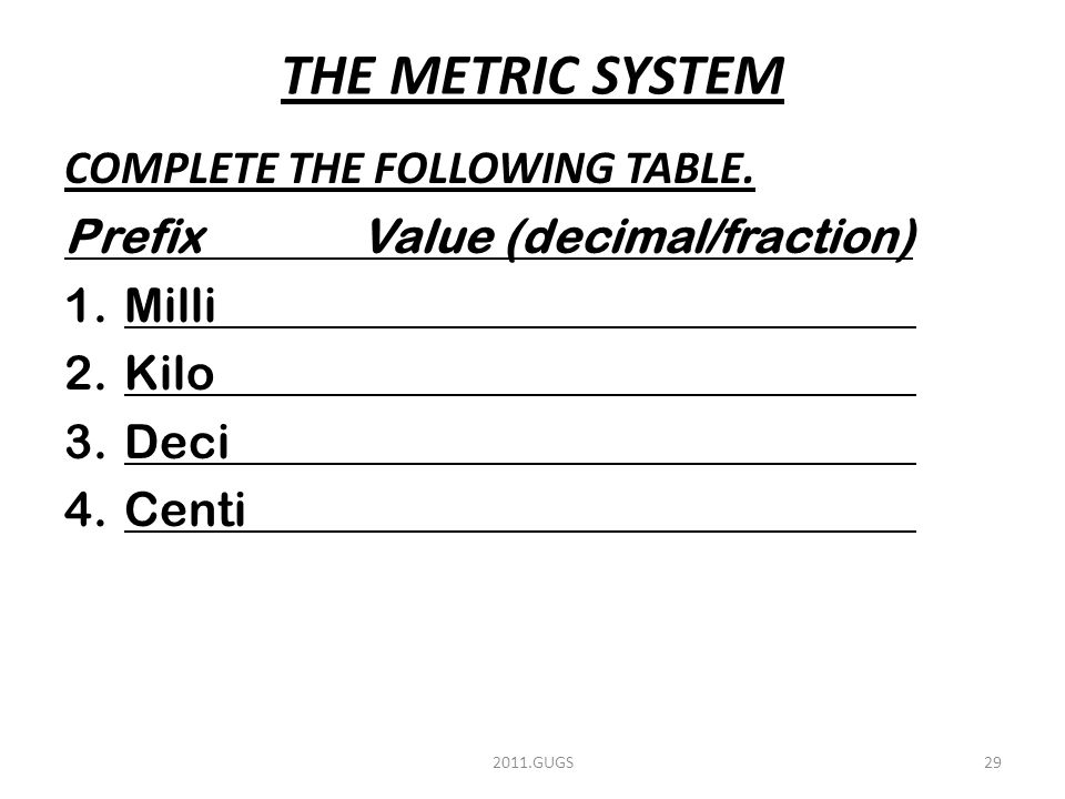 THE METRIC SYSTEM COMPLETE THE FOLLOWING TABLE.