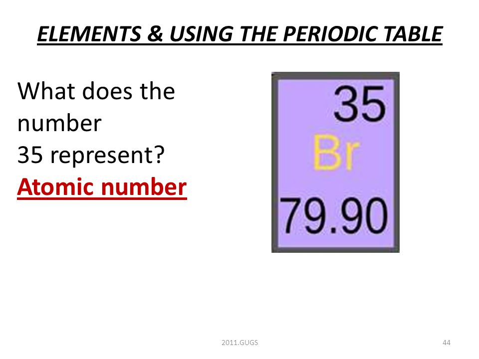 ELEMENTS & USING THE PERIODIC TABLE 2011.GUGS44 What does the number 35 represent Atomic number